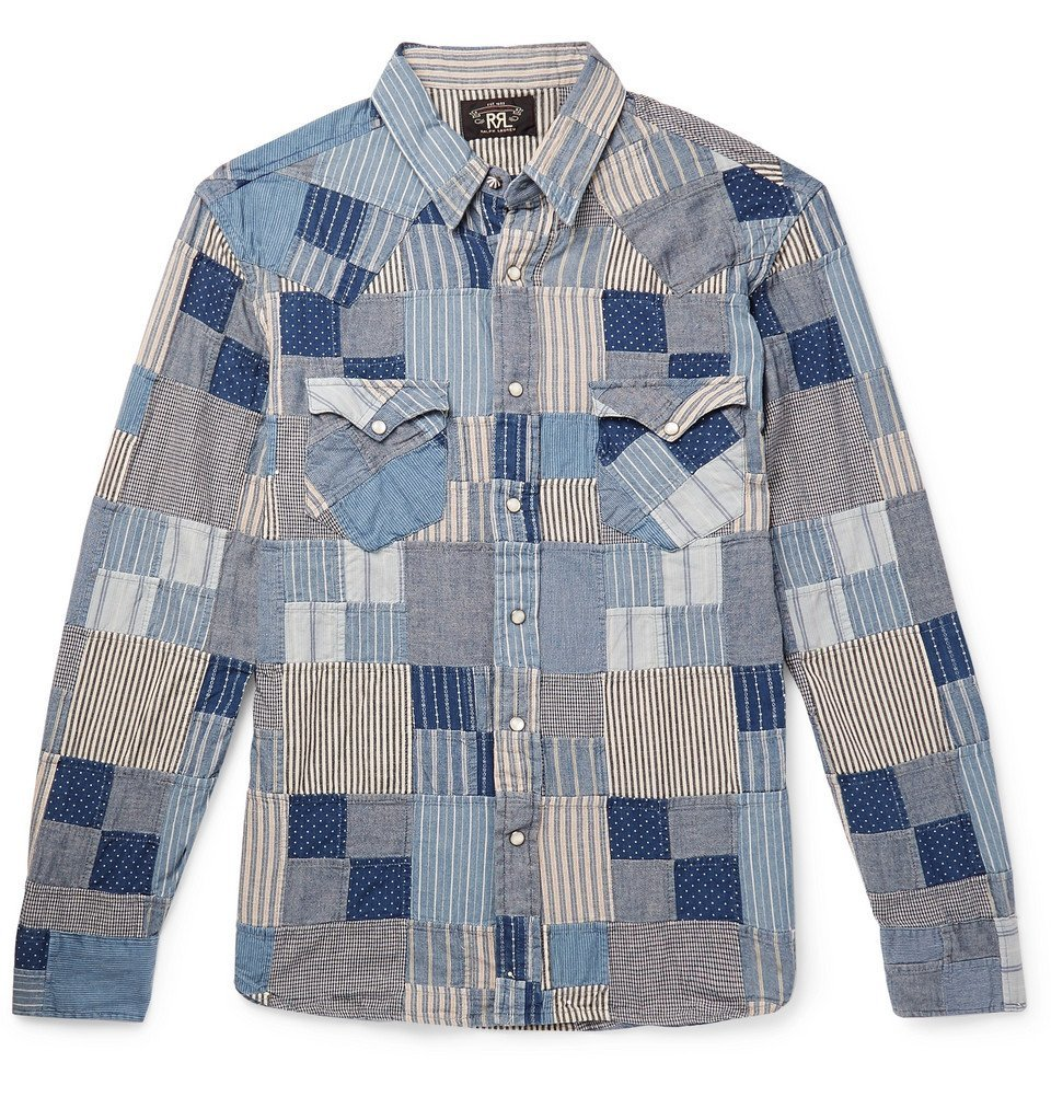 RRL - Slim-Fit Patchwork Cotton and Linen-Blend Shirt - Indigo