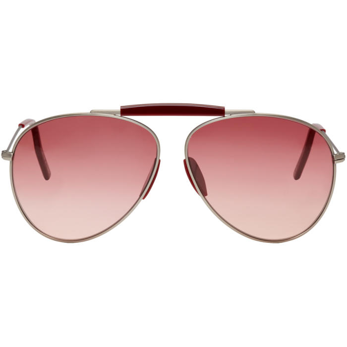 Acne Studios Silver and Red Howard Aviator Sunglasses