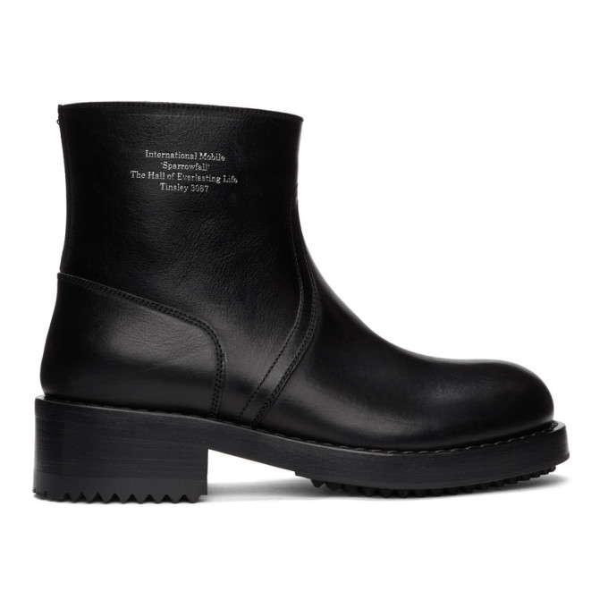 Photo: Raf Simons Black Text Chelsea Boots