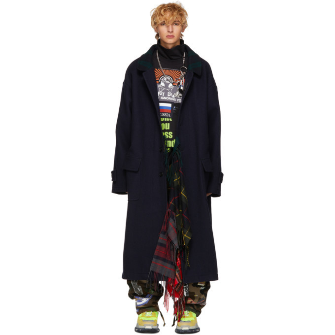 Photo: Vetements Reversible Navy Scarf Coat