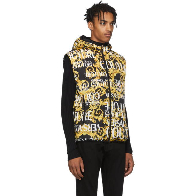 Versace Jeans Couture Reversible Gold and Black Baroque All Over Vest