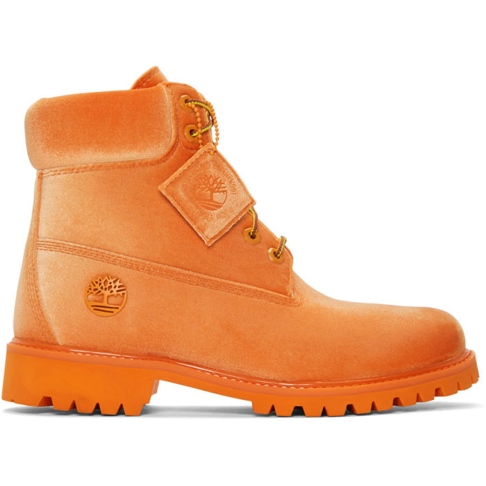Photo: Off-White Orange Timberland Edition 6 Inch Textile Boots