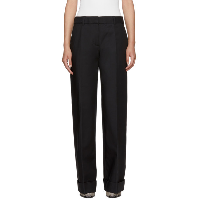 3.1 Phillip Lim Black Flat Front Cuffed Trousers
