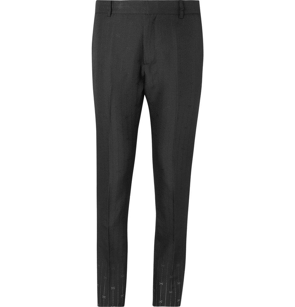 1017 ALYX 9SM - Black Slim-Fit Silk and Wool-Blend Jacquard Suit Trousers - Black