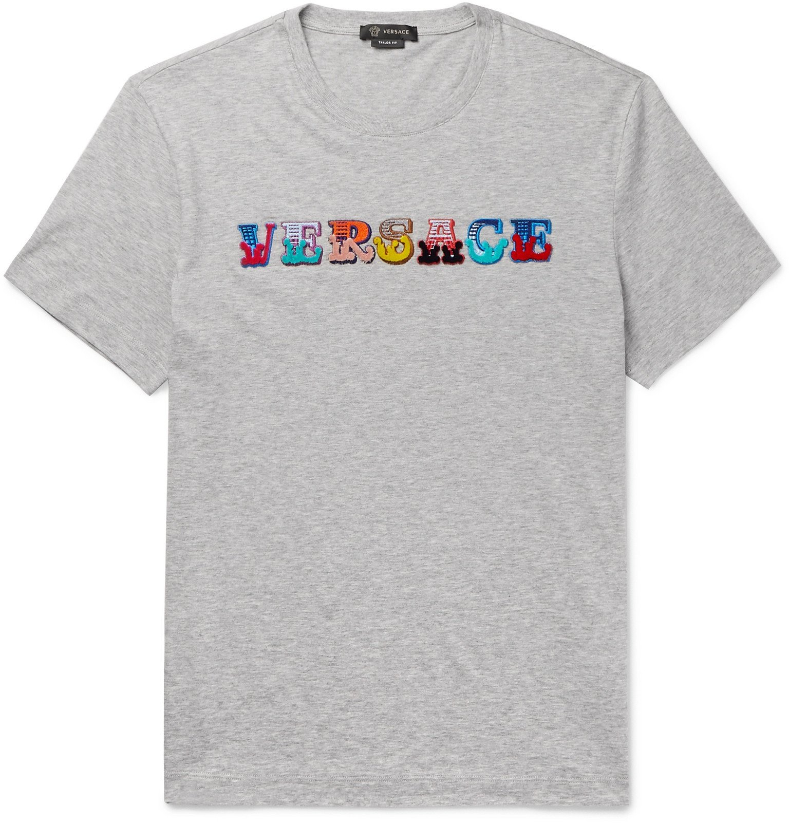 Versace - Logo-Flocked Mélange Cotton-Jersey T-Shirt - Gray