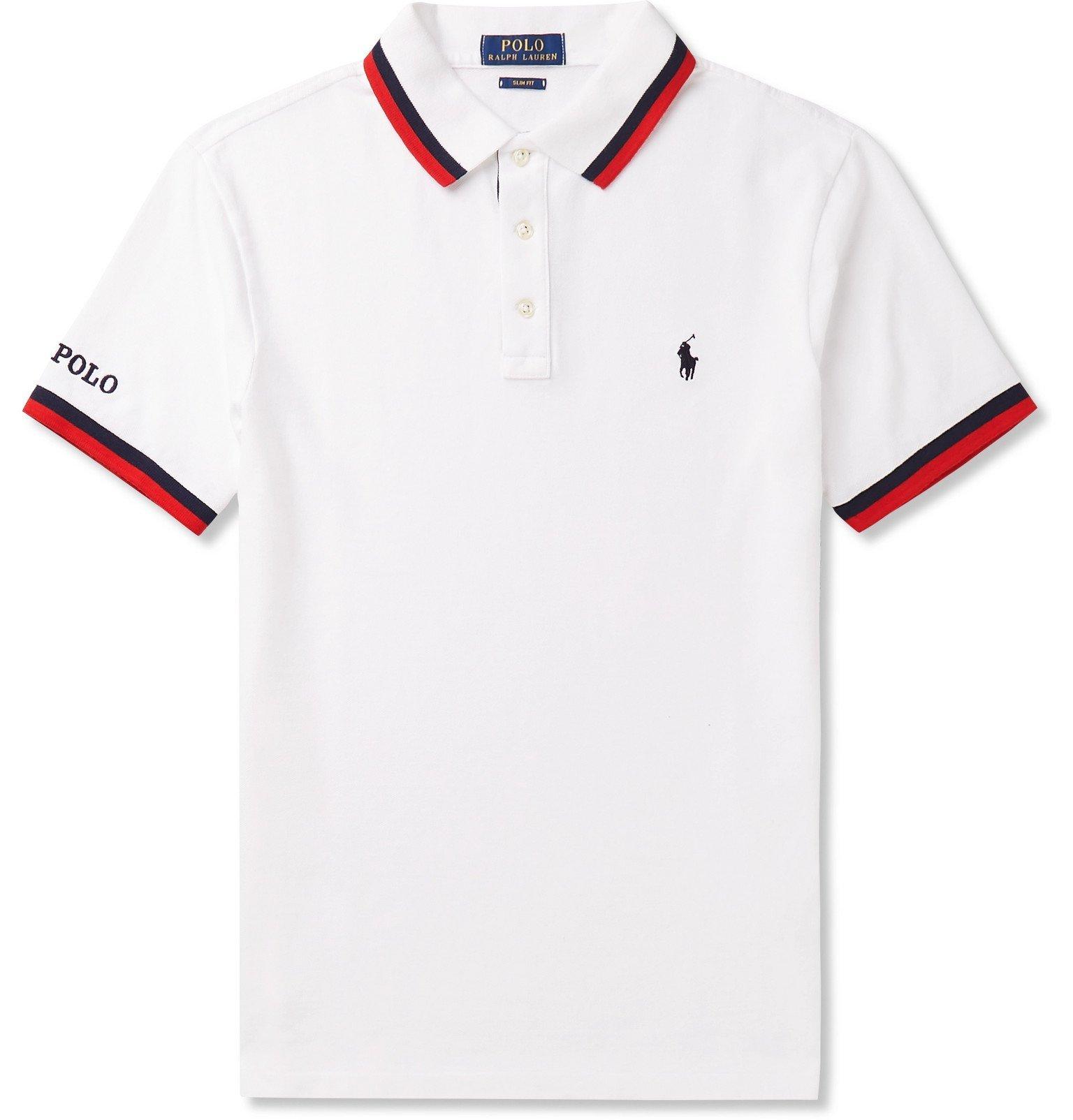 Polo Ralph Lauren - Slim-Fit Contrast-Tipped Cotton-Piqué Polo Shirt - White