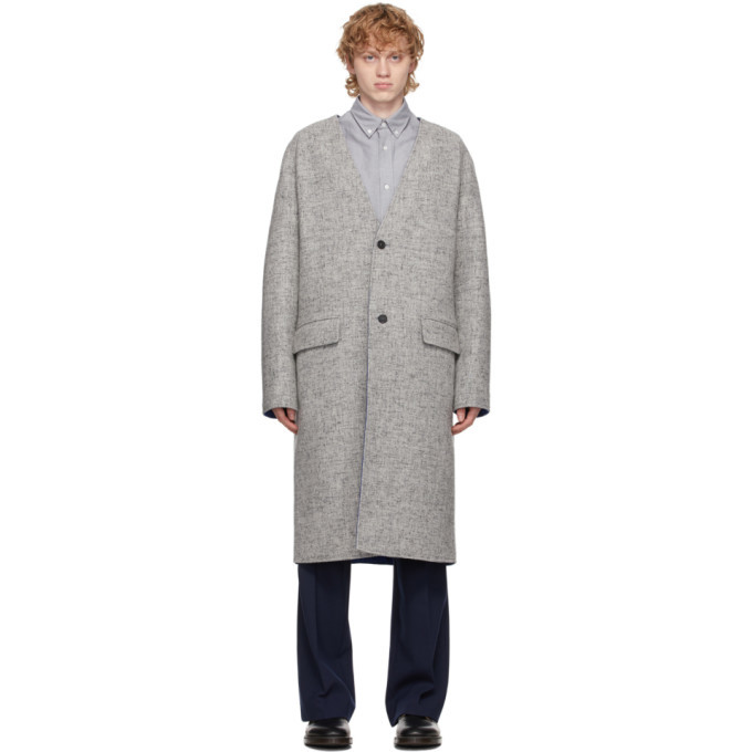 Photo: Kenzo Reversible Grey Wool Coat