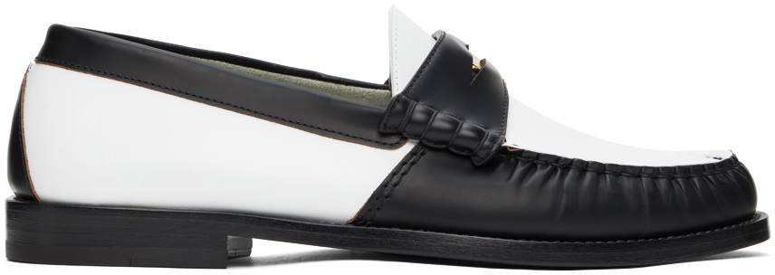 Photo: Rhude White & Black Leather Penny Loafers