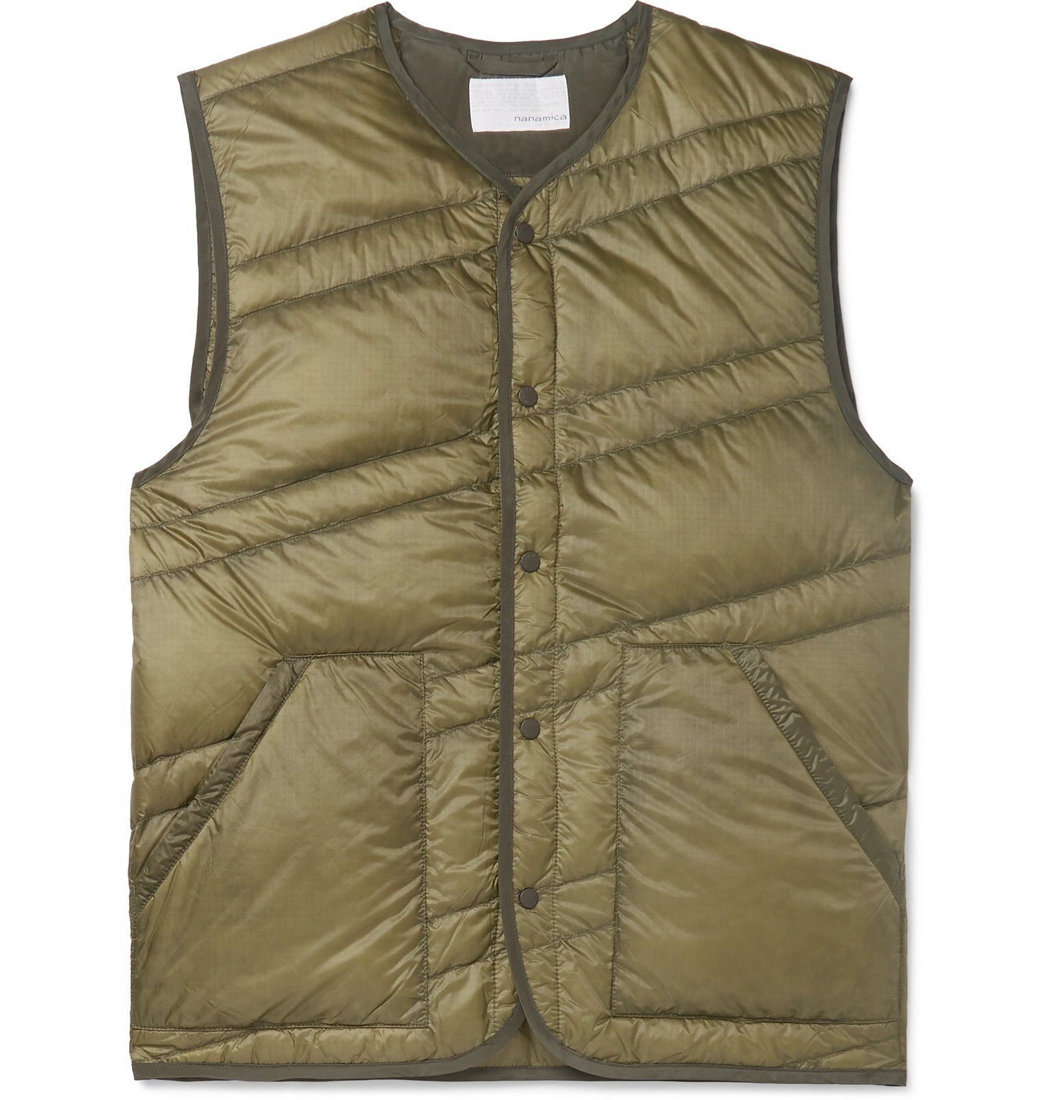 Photo: nanamica - Slim-Fit Quilted Nylon-Ripstop Down Gilet - Green