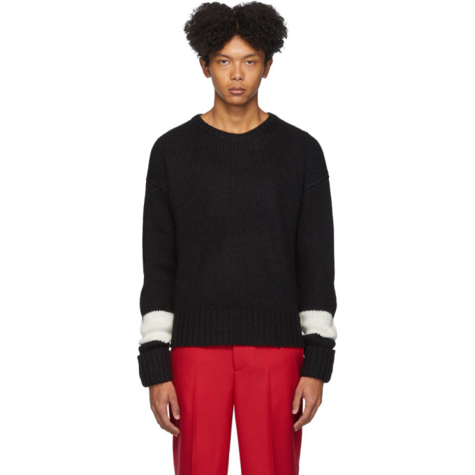 Photo: Neil Barrett Black Wool and Alpaca GG Easy-Fit Sweater