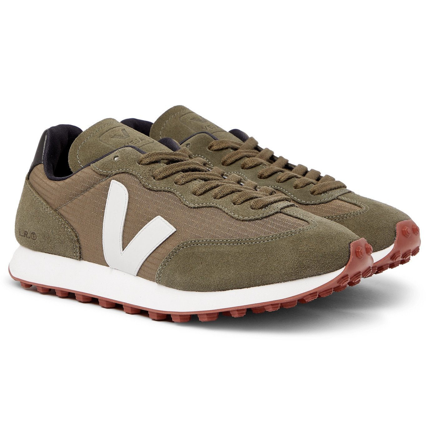 Photo: Veja - Rio Branco Leather and Rubber-Trimmed Hexamesh and Suede Sneakers - Green