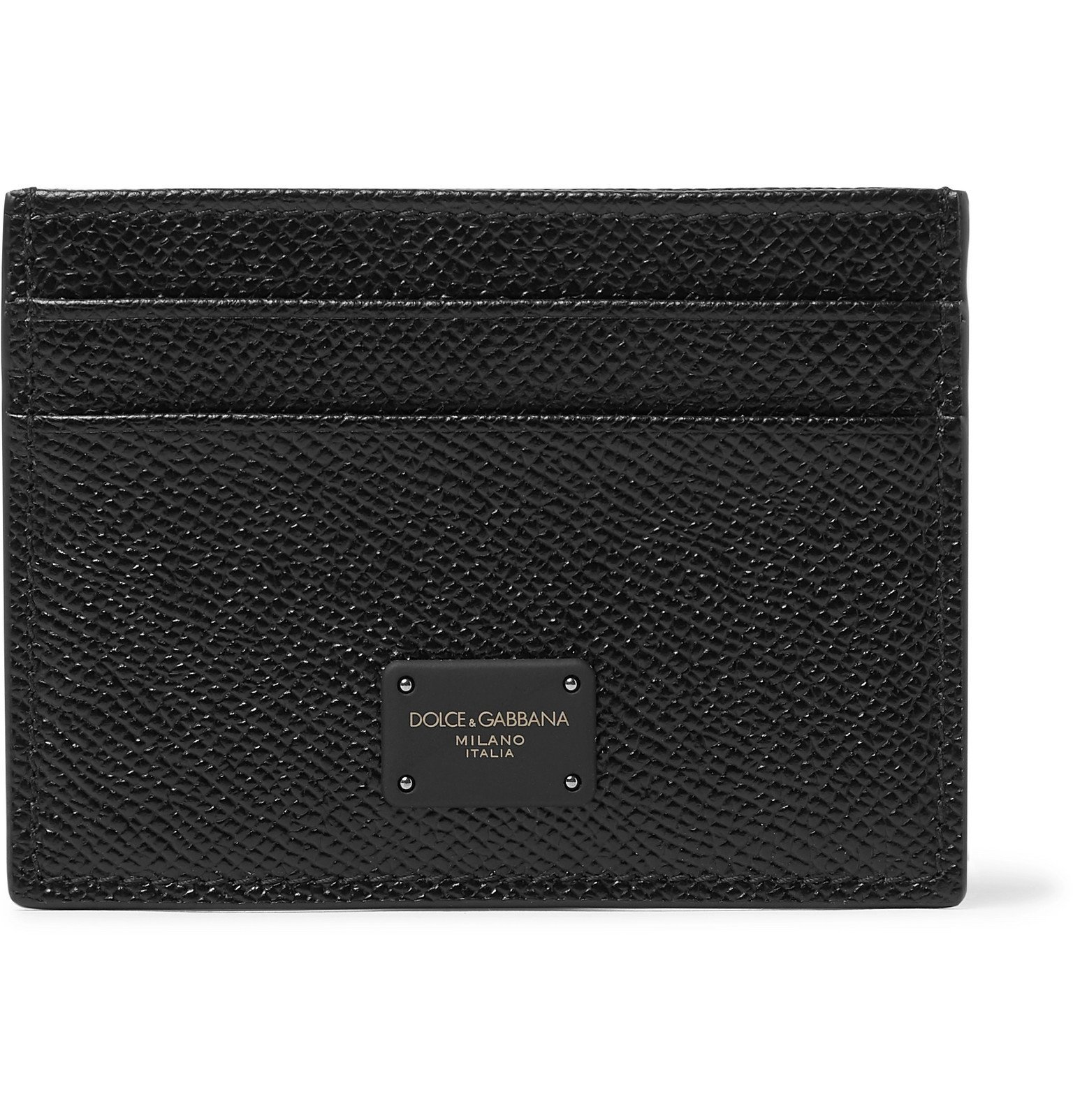 Photo: Dolce & Gabbana - Logo-Appliquéd Full-Grain Leather Cardholder - Black