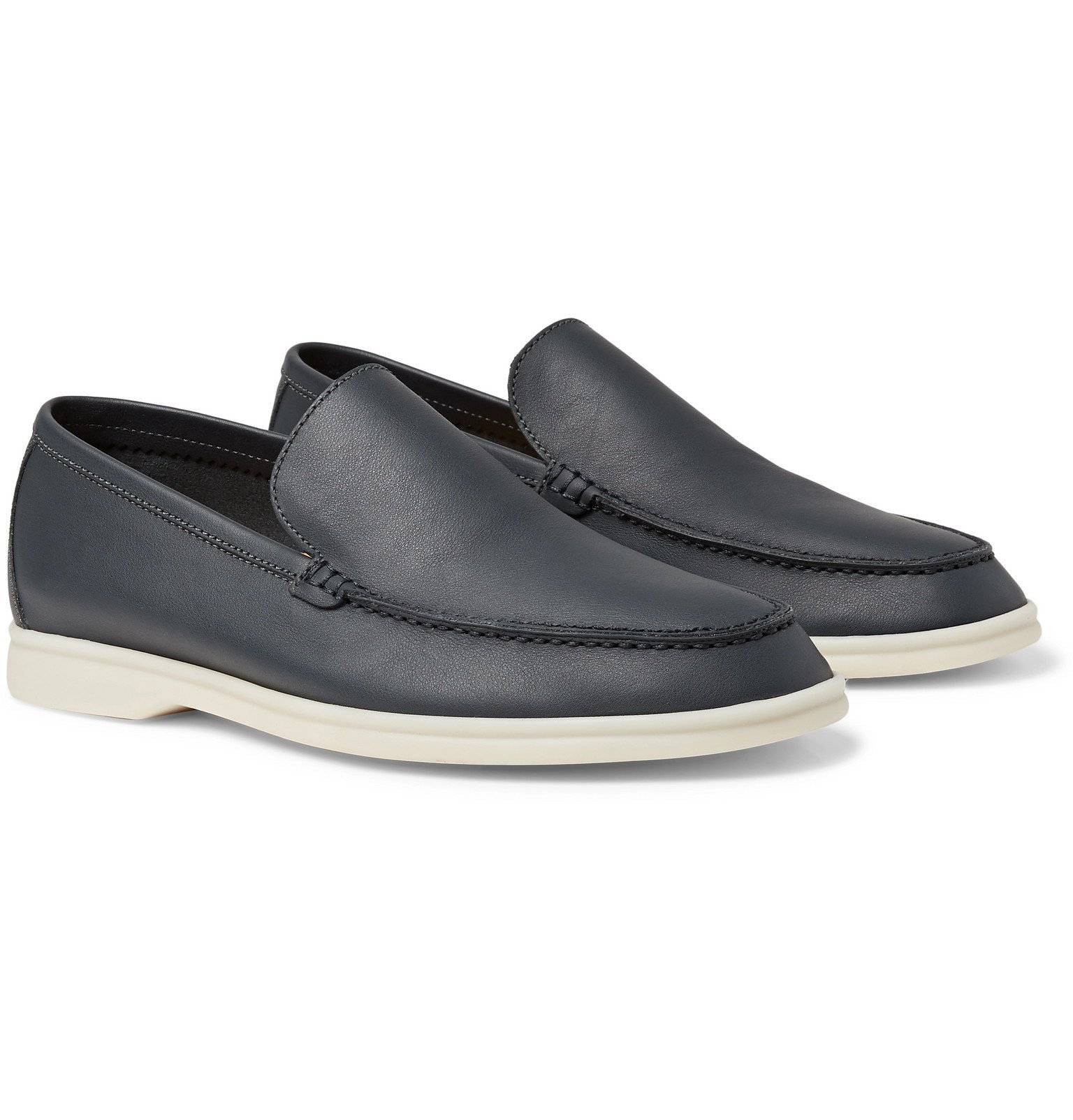 Photo: Loro Piana - Summer Walk Leather Loafers - Blue
