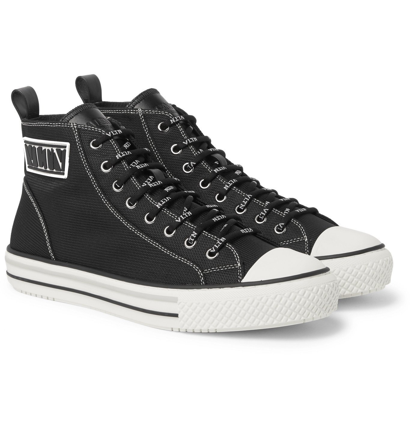 Photo: Valentino - Valentino Garavani Logo-Detailed Tech-Canvas High-Top Sneakers - Black