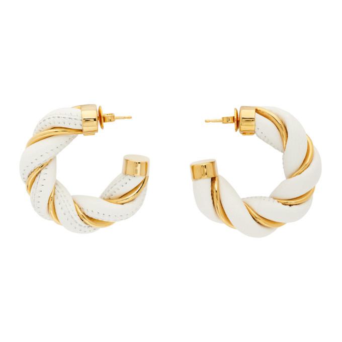Photo: Bottega Veneta White and Gold Twist Hoop Earrings