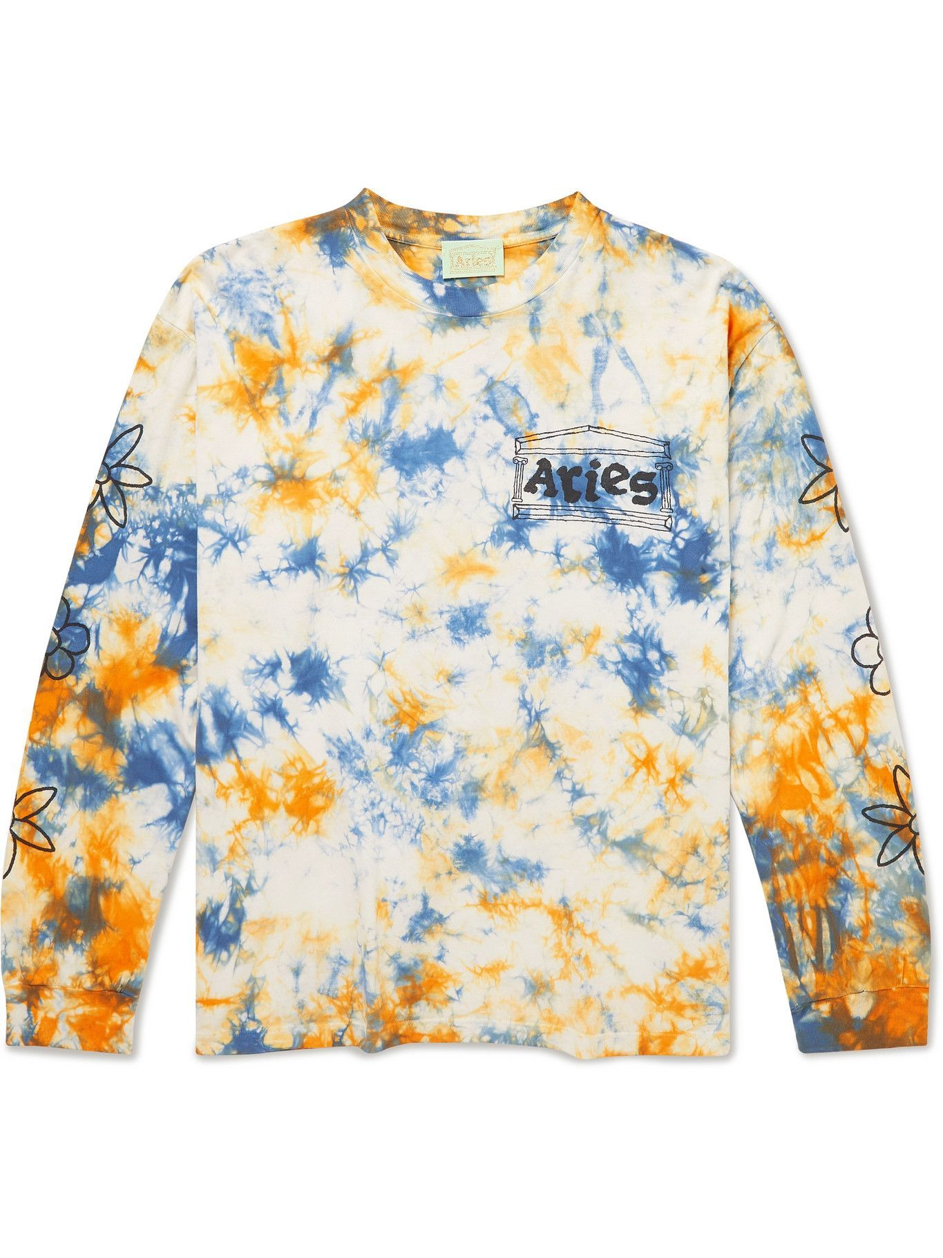 Photo: Aries - Printed Tie-Dyed Cotton-Jersey T-Shirt - White