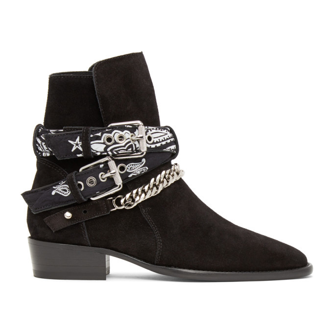 Photo: AMIRI Black Bandana Buckle Boots
