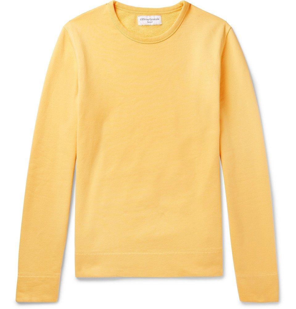 Photo: Officine Generale - Fleece-Back Cotton-Jersey Sweatshirt - Men - Yellow