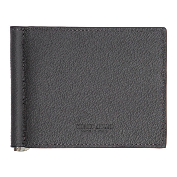 Photo: Giorgio Armani Grey Tumbled Leather Wallet