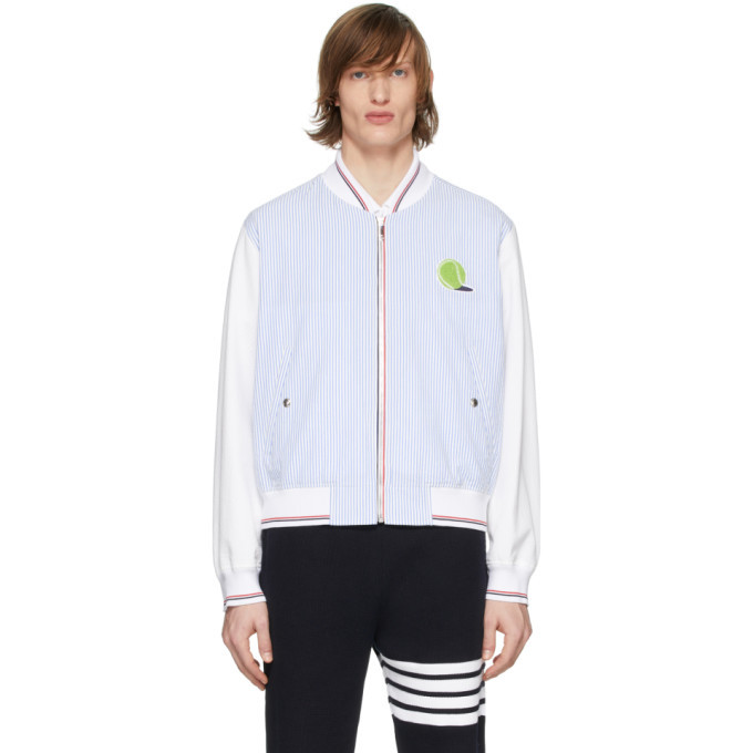 Photo: Thom Browne Blue and White Seersucker Ball Patch Bomber Jacket