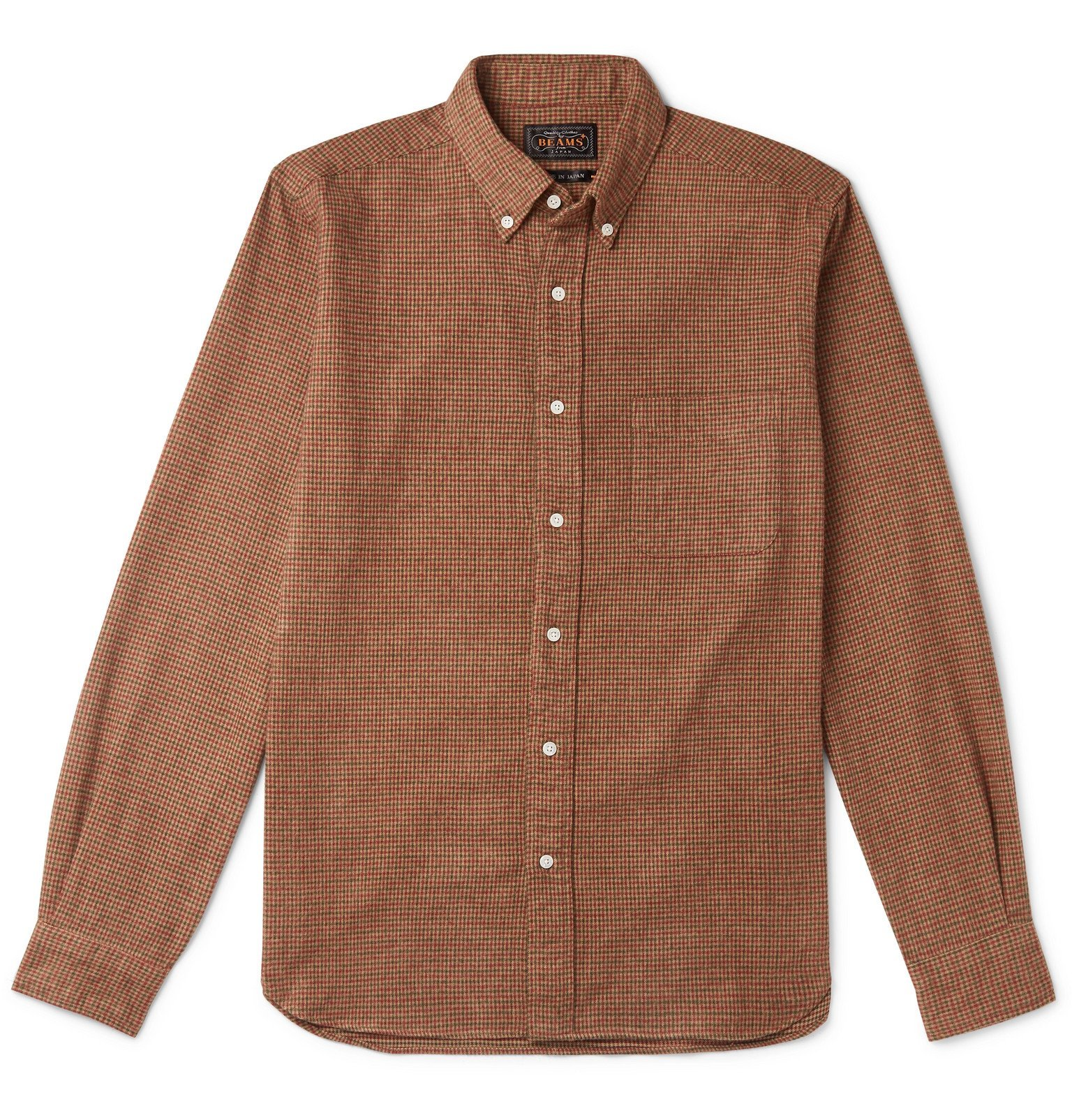 Photo: Beams Plus - Button-Down Collar Checked Brushed-Cotton Shirt - Brown