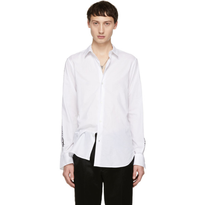 Photo: Ann Demeulemeester White Sleeve Print Shirt