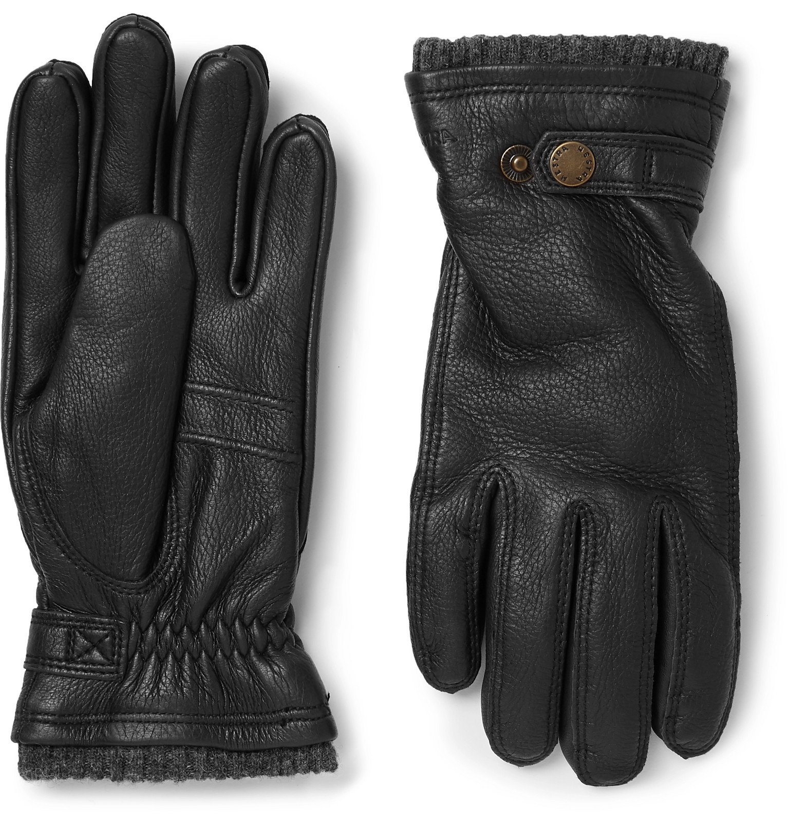 Photo: Hestra - Utsjö Fleece-Lined Full-Grain Leather Gloves - Black