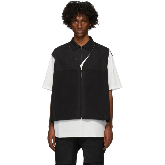 Photo: Y-3 Black Vest Heavyweight Workwear Vest