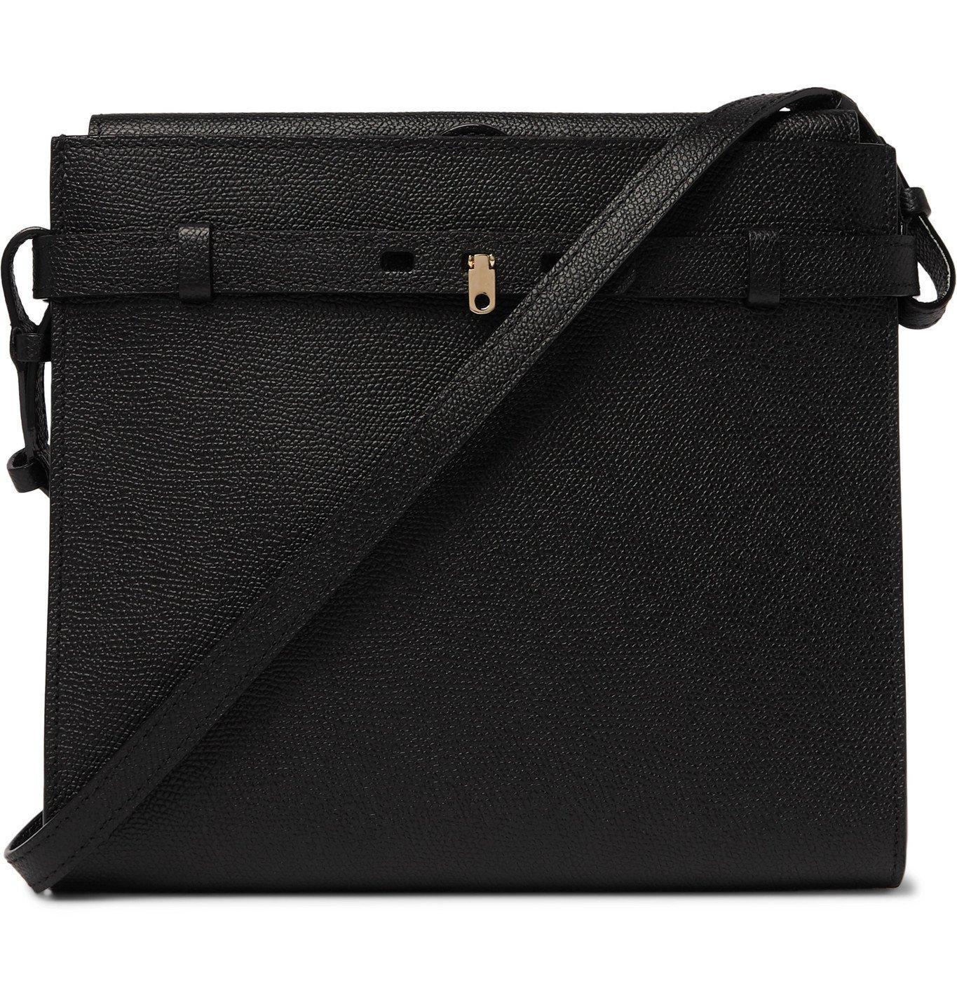 Photo: Valextra - Brera B-Tracollina Pebble-Grain Leather Messenger Bag - Black