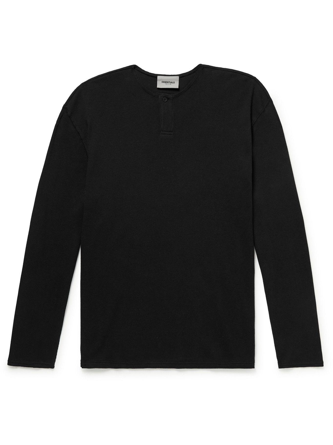 Photo: Fear of God Essentials - Logo-Appliquéd Waffle-Knit Cotton-Jersey Henley T-Shirt - Black