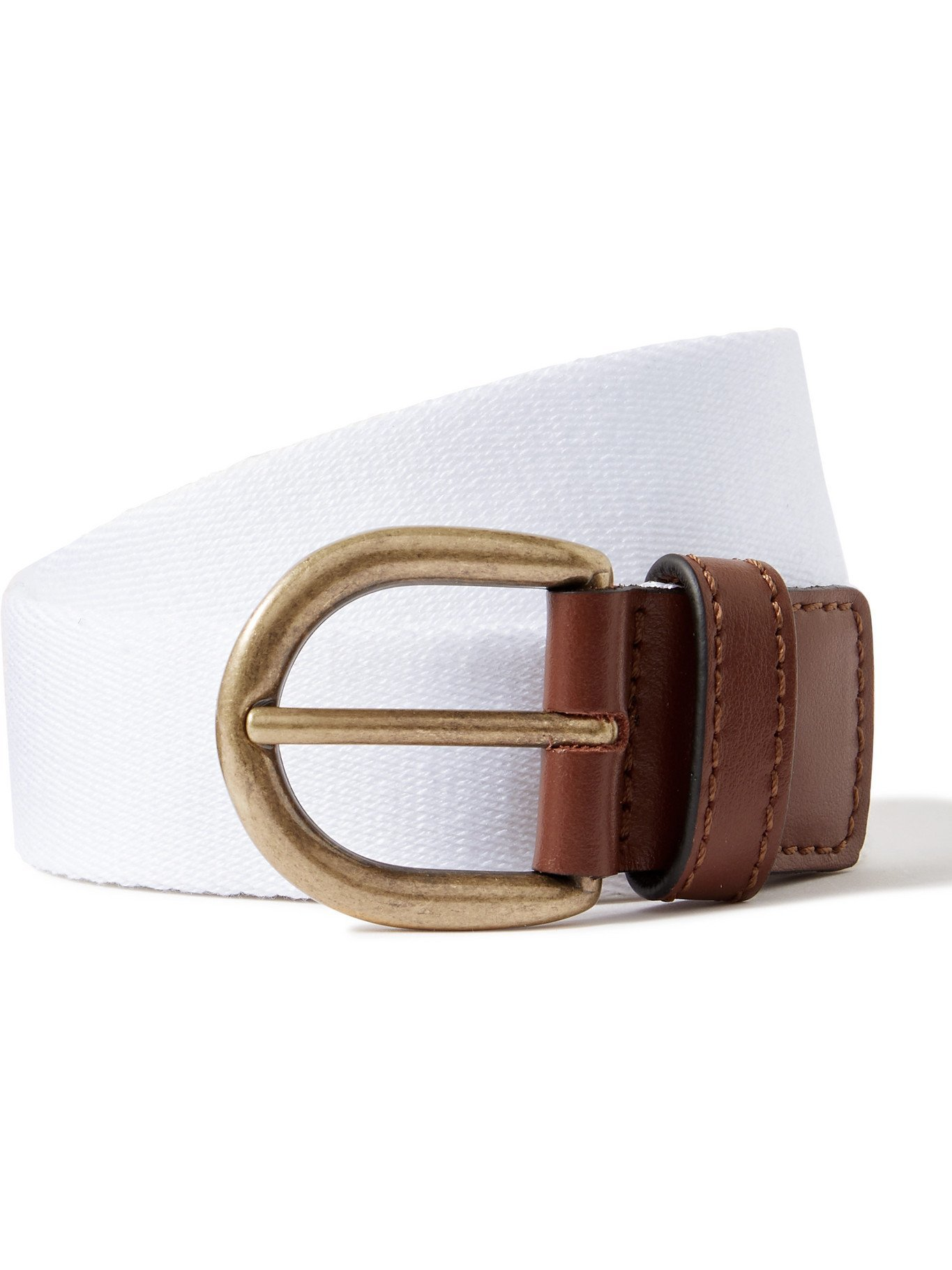Photo: ANDERSON & SHEPPARD - Leather-Trimmed Canvas Belt - White