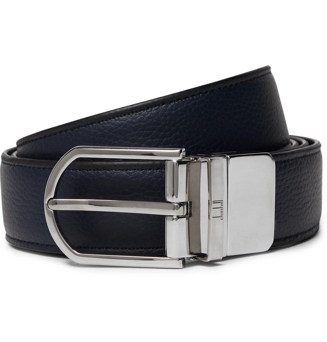 DUNHILL - 3cm Reversible Full-Grain Leather Belt - Blue