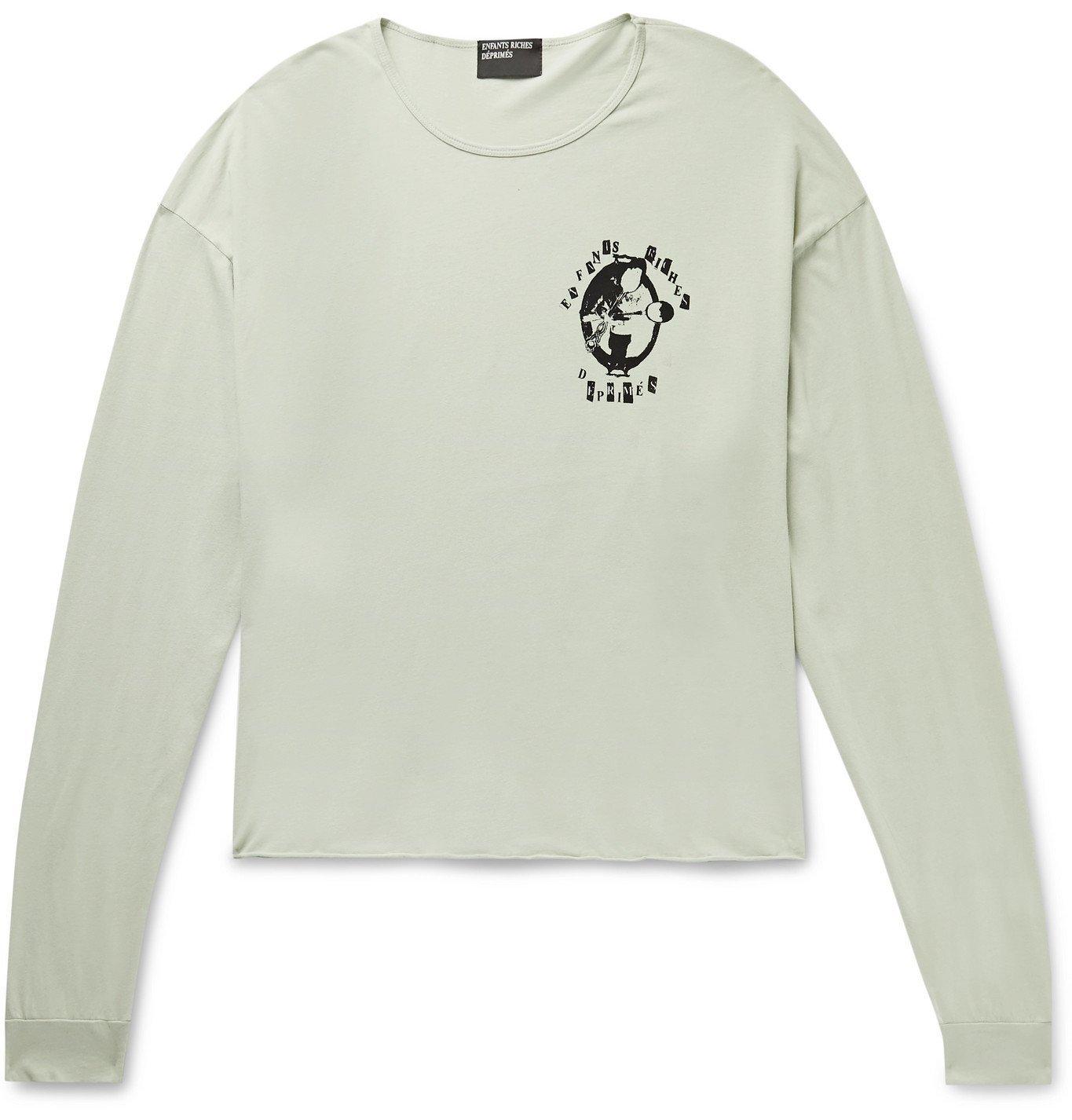 Photo: Enfants Riches Déprimés - Silver Spoon Printed Cotton-Jersey T-shirt - Green