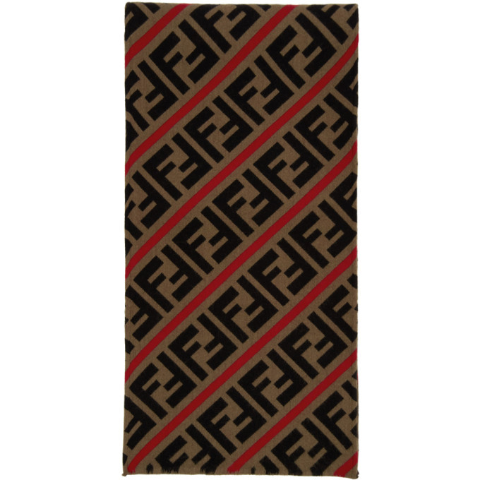 Photo: Fendi Red and Brown Wool Forever Fendi Scarf