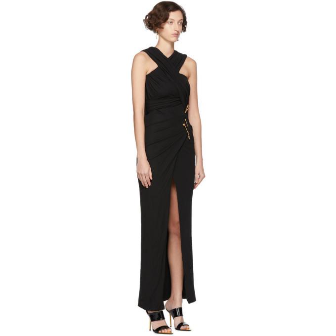Versace Black Medusa Draped Long Dress