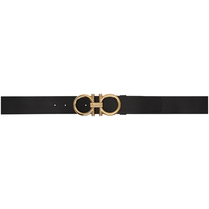 Photo: Salvatore Ferragamo Black Adjustable Gancini Belt