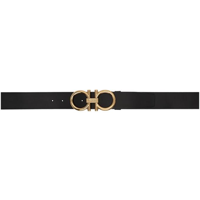 Salvatore Ferragamo Black Adjustable Gancini Belt