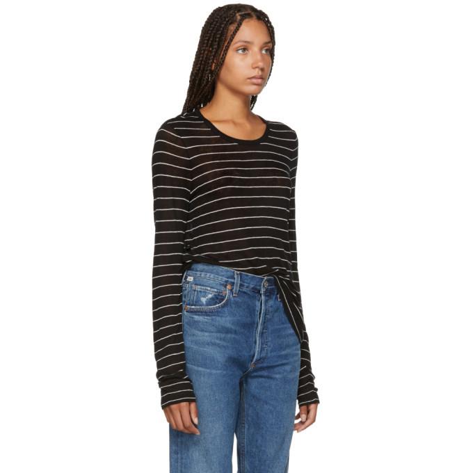 alexanderwang.t Black Striped Jersey Long Sleeve T-Shirt