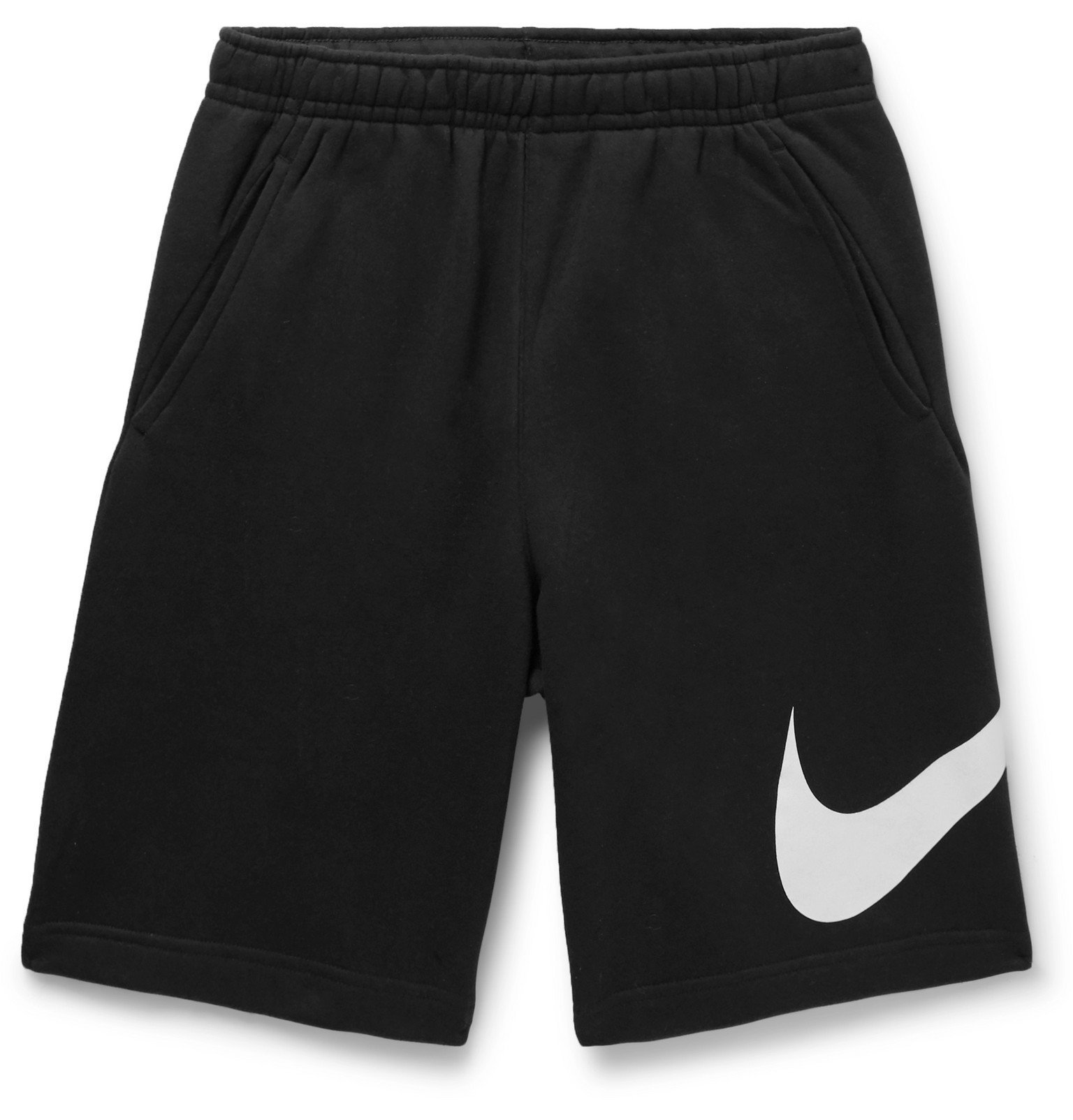 Photo: Nike - Sportswear Club Logo-Print Fleece-Back Jersey Drawstring Shorts - Black
