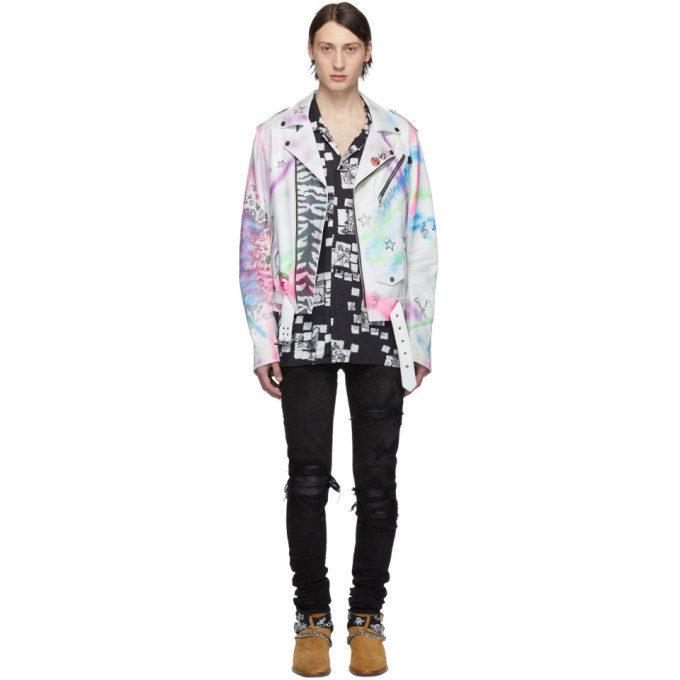 Photo: Amiri White and Multicolor Leather Graffiti Biker Jacket