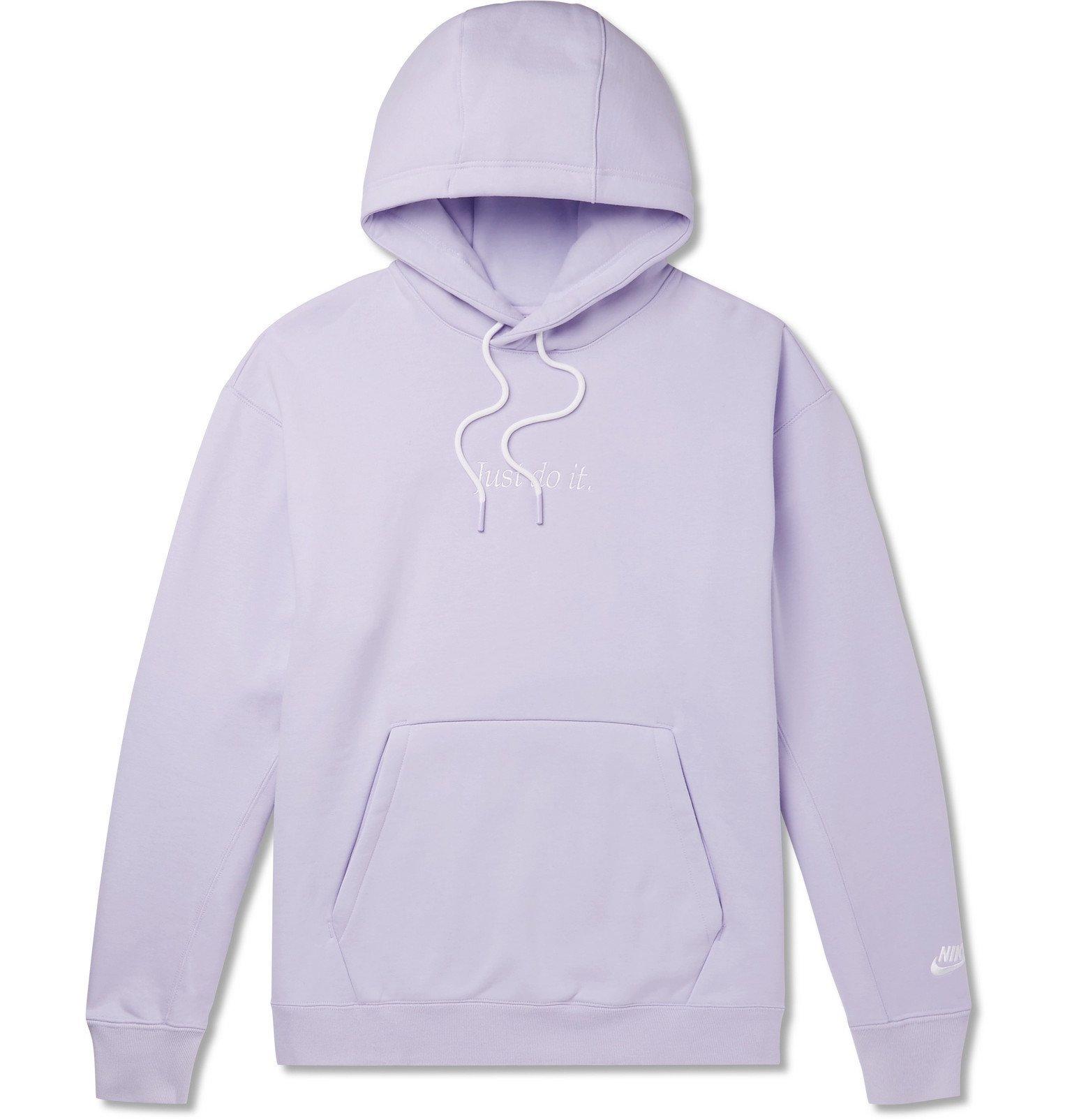 Photo: Nike - Logo-Embroidered Fleece-Back Cotton-Blend Hoodie - Purple
