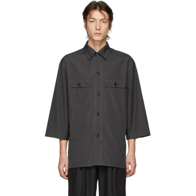 Photo: Lemaire Grey Three-Quarter Sleeve Tropical Shirt