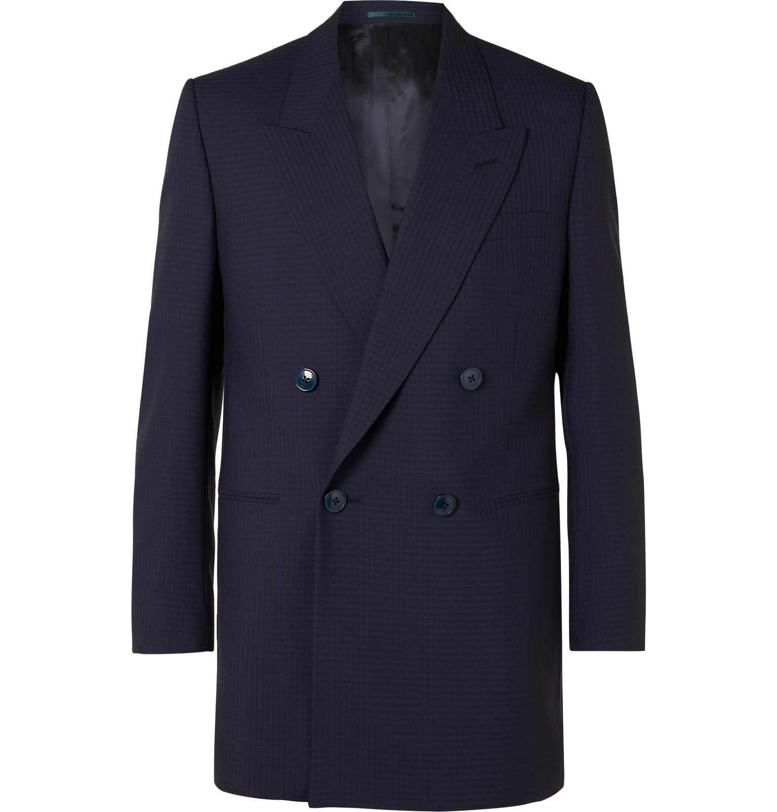 Photo: Martine Rose - Double-Breasted Checked Virgin Wool Suit Jacket - Blue