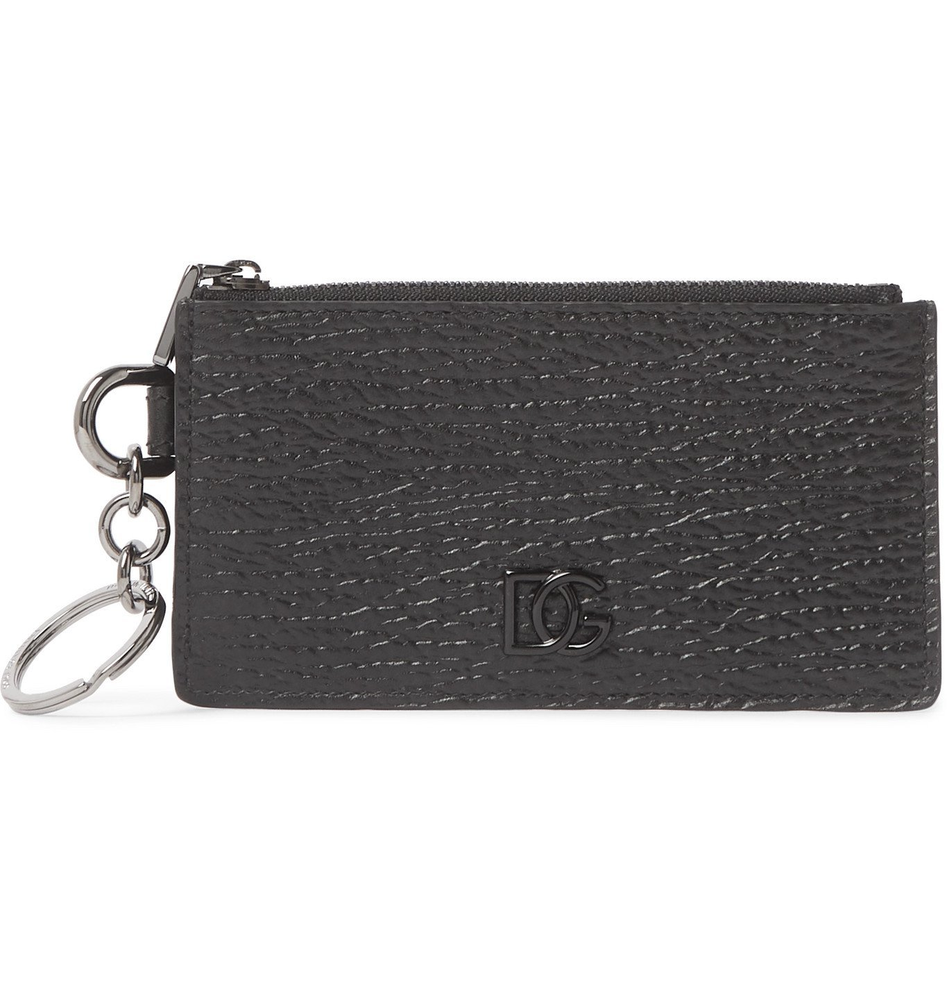 Photo: Dolce & Gabbana - Logo-Appliquéd Full-Grain Leather Zipped Cardholder - Black