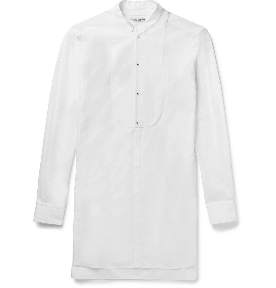 Photo: Alexander McQueen - Mandarin-Collar Cotton-Poplin Tuxedo Shirt - White