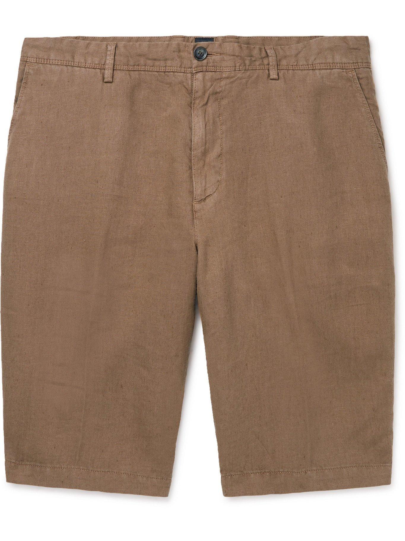 HUGO BOSS - Linen Shorts - Brown
