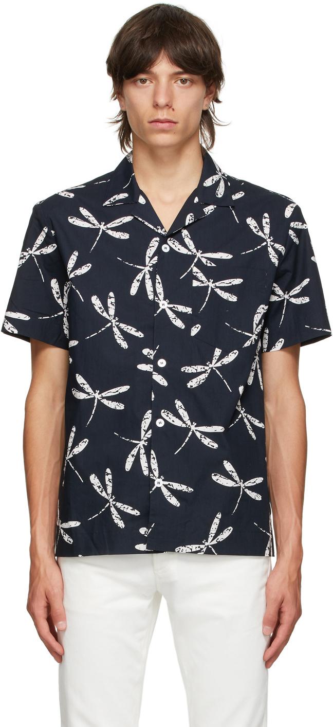 Photo: A.P.C. Navy Edd Poplin Short Sleeve Shirt