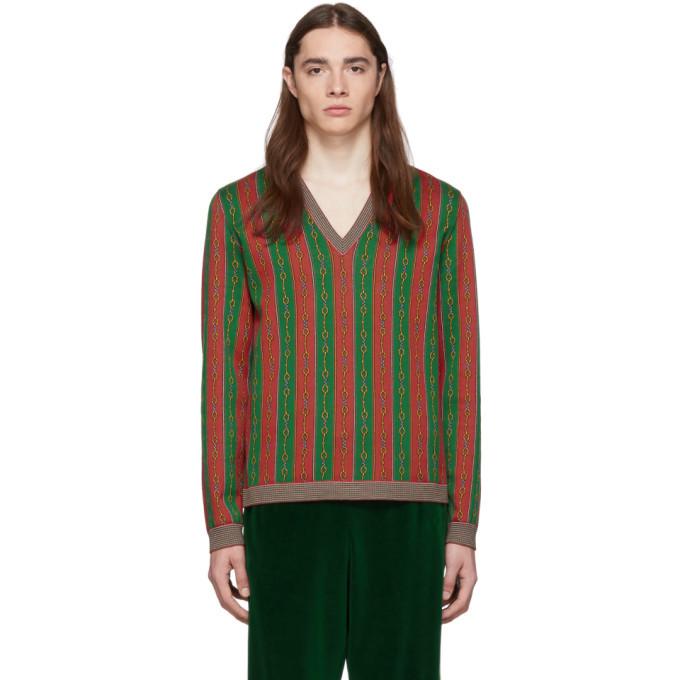 Photo: Gucci Red Wool Horsebit Sweater