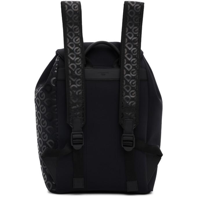Dolce and Gabbana Black Neoprene Logomania Backpack
