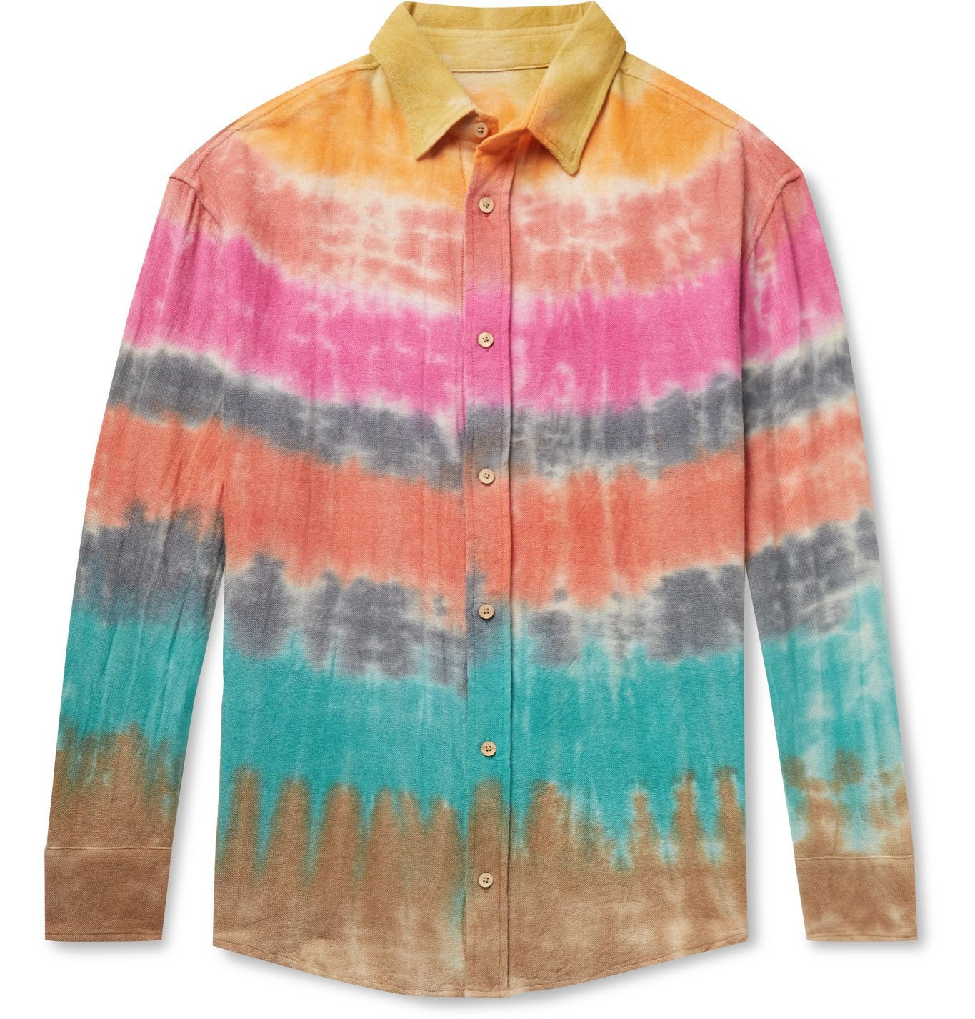 Photo: The Elder Statesman - Wacky Boomslang Tie-Dyed Wool, Cashmere and Cotton-Blend Shirt - Multi